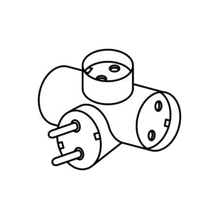Tee plug electric icon Illustration
