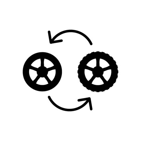 Car wheel summer and winter icon