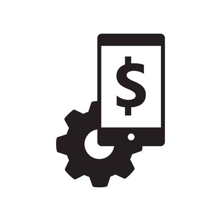 smartphone with dollar icon, Job system icon,