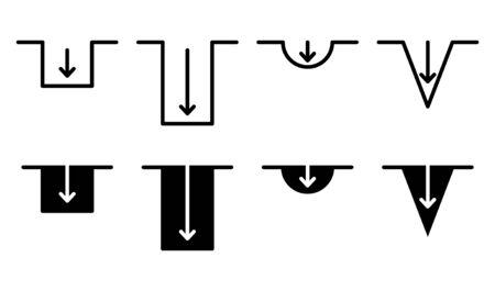 Depth icon, vector illustration