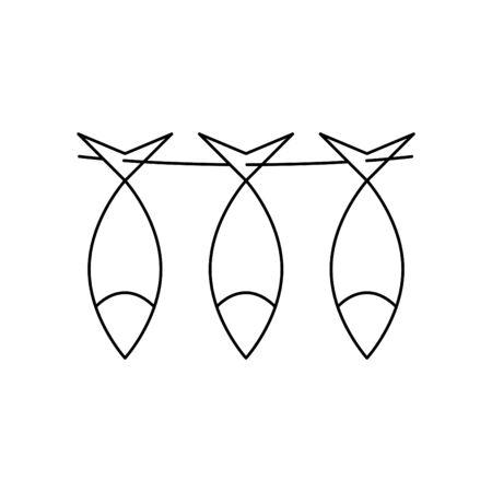 Dried fish, vector illustration
