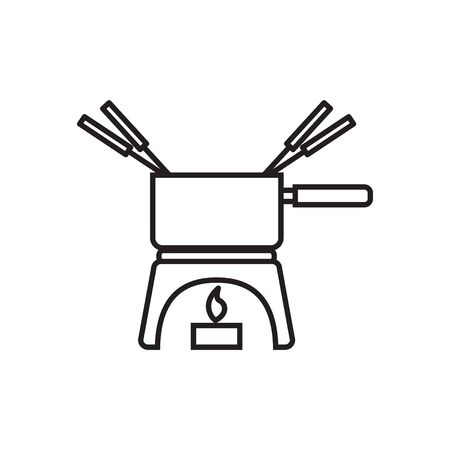 Melting fondue pot icon
