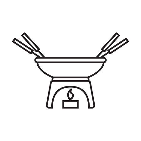 Melting fondue pot icon