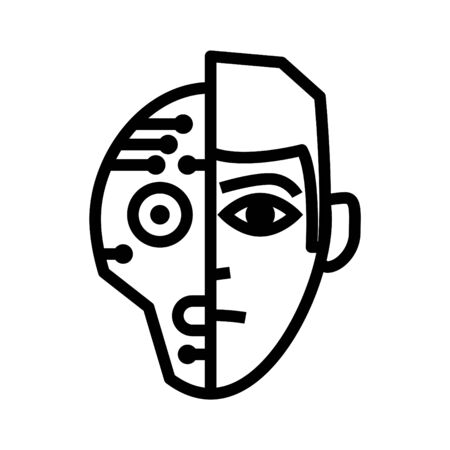 Human and robot icon, Artificial Intelligence icon