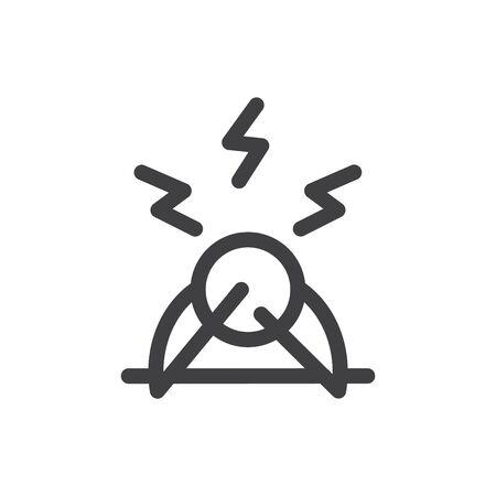 Stress icon, vector line illustration
