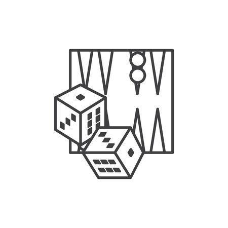 Backgammon icon, thin vector illustration
