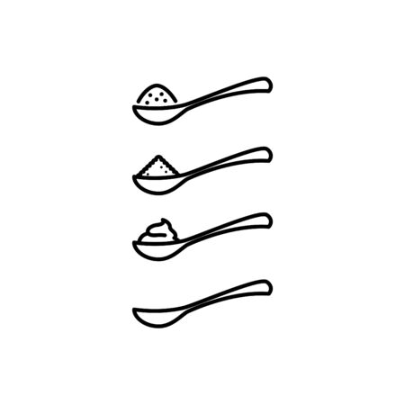 full spoon icon, vector line illustration