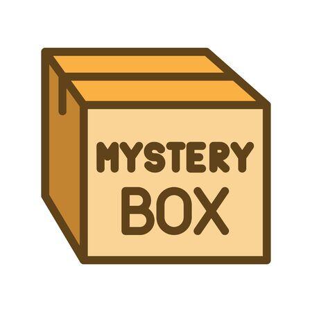 Icono de caja misteriosa, ilustración vectorial