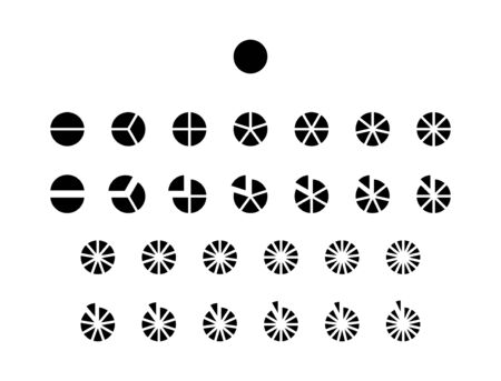 Fractions vector icons. Pie chart line circles