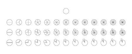 Iconos vectoriales de fracciones. Círculos de líneas de gráfico circular