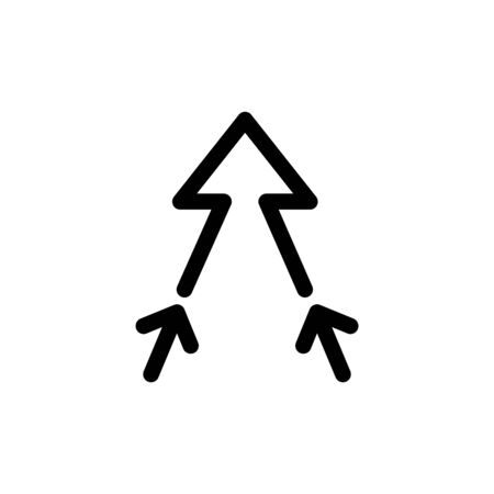 two arrows merging into one icon. Illustration
