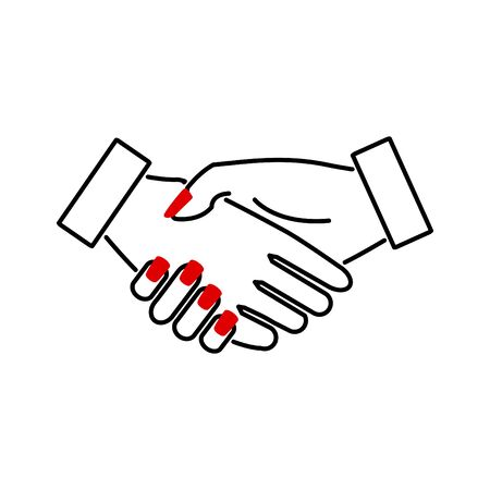 Handshake woman icon, vector line illustration