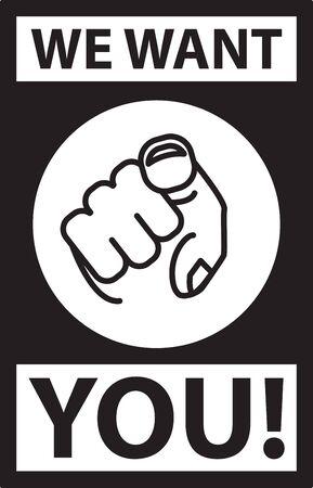 Wir wollen Sie, Symbol für die Vektorlinienillustration