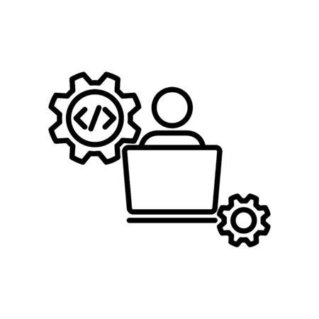 doveloper icon, vector line illustration Ilustração
