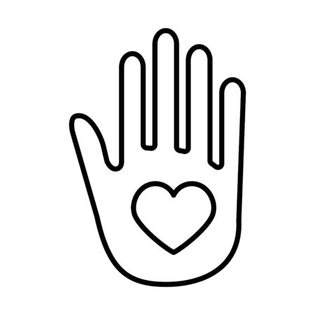 Hand with heart line icon, vector