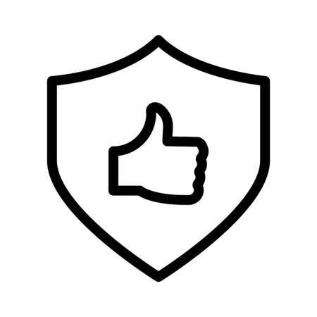 shield icon, vector line illustration Vektorové ilustrace