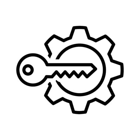 Key Gear Icon, vector illustration