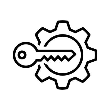 Key Gear Icon, vector illustration