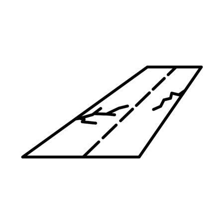 Broken road icon, vector line illustration