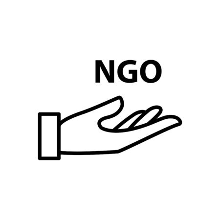 NGO icon, vector line illustration Çizim