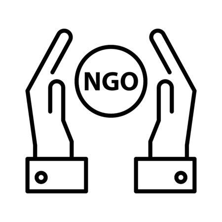 NGO icon, vector line illustration 矢量图像