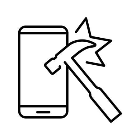 Indestructible icon, vector line illustration
