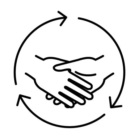 mutual help icon, vector line
