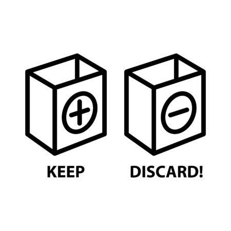 Keep or Discard icon, vector illustration