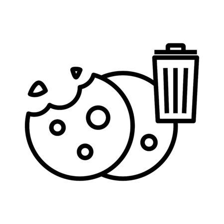 Delete cookie icon, vector line illustration.