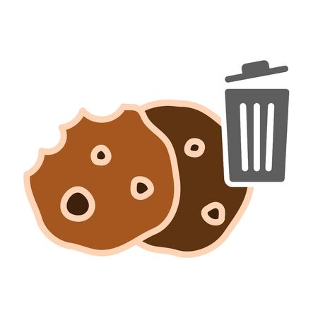 Delete cookie icon, vector line illustration.