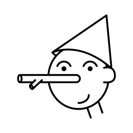 Icono de Pinocho, ilustración de línea vectorial Ilustración de vector