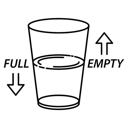 half full and half empty glass icon Illustration