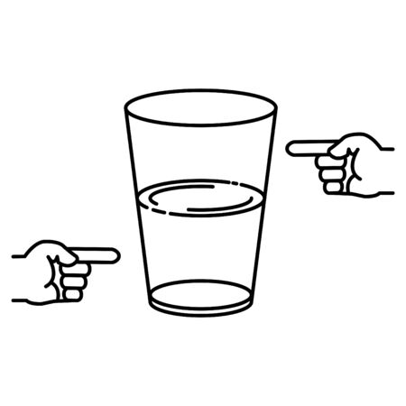half full and half empty glass icon Иллюстрация