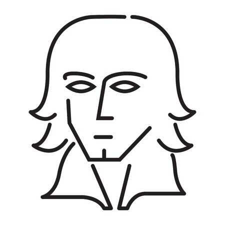 composer icon, vector line illustration Illusztráció
