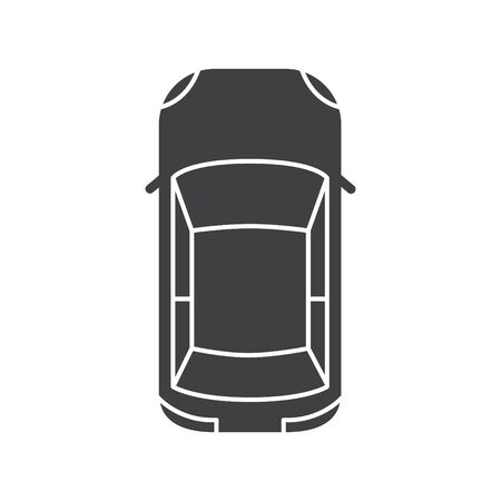 Car icon, view from above, vector Ilustracja