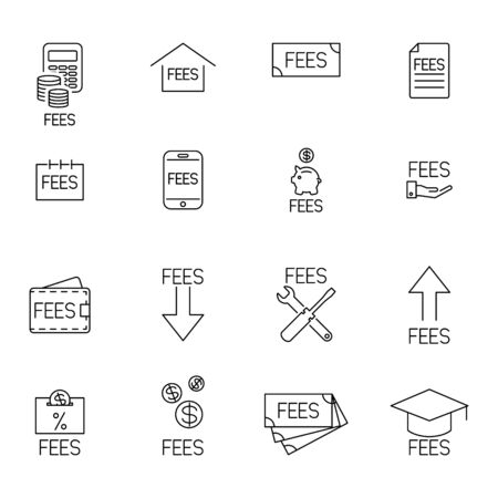 Fee icon set, fees payment, vector illustration