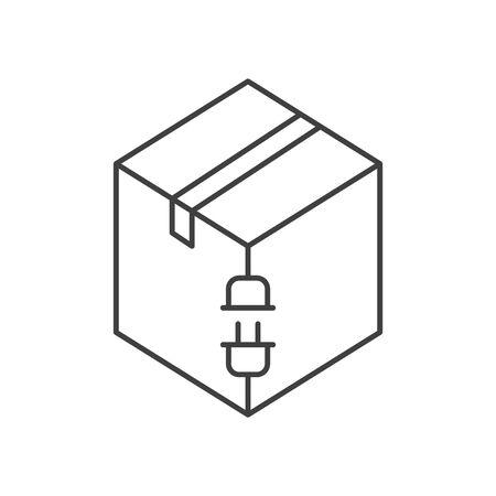 Electric box icon, vector line illustration