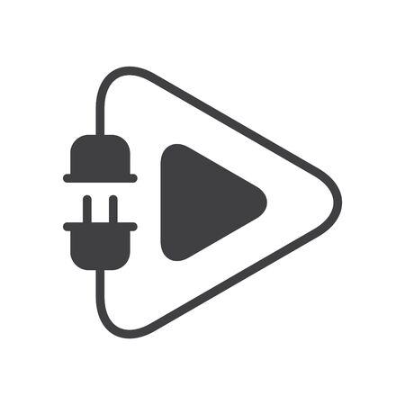 Electric play icon, vector line illustration Иллюстрация