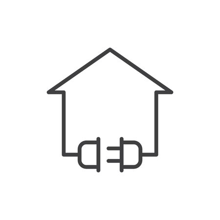 Electric home icon, vector line illustration
