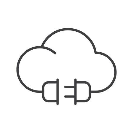 Electric cloud icon, vector line illustration Иллюстрация