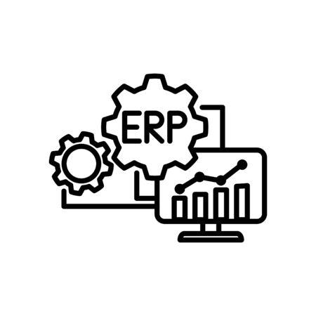 Ikona systemu ERP, ilustracji wektorowych