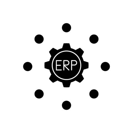 ERP system icon, vector illustration