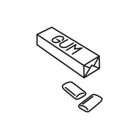 Gum icon, vector line illustration