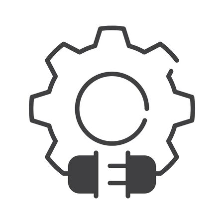 Electric gear icon, gear with plug logo, vector