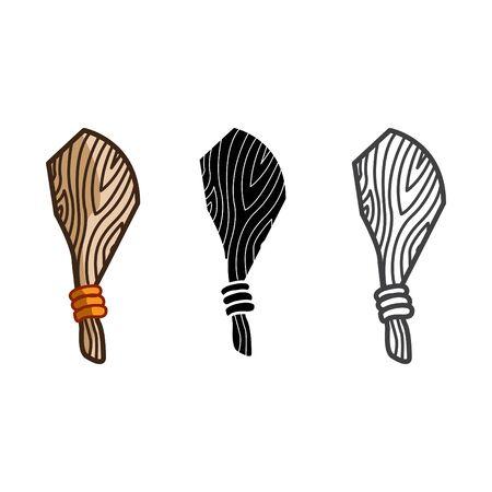 Cudgel icon, weapon icon, vector line illustration