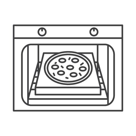 pizza stone icon, vector line illustration Banque d'images - 138283648