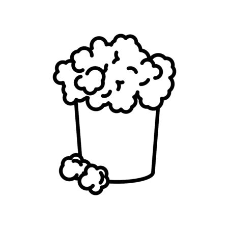 Popcorn icon, vector line illustration