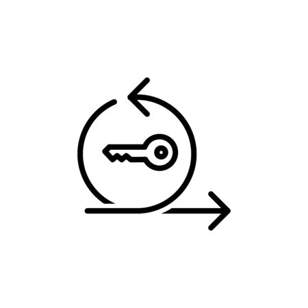 Agile icon with key. vector line illustration. 矢量图像