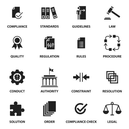 Regulation icons, contains such icons as compliance, standard, guideline, rules and more, vector