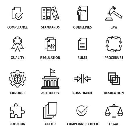 Iconos de regulación, contiene iconos como cumplimiento, estándar, directriz, reglas y más, vector